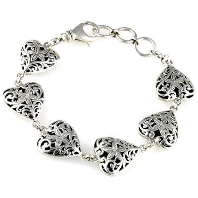 Indiri Sterling Silver Filigree Heart Bracelet