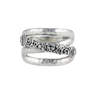 Sarda Sterling Silver & Filigree Crossover Ring