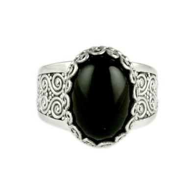 Sarda Sterling Silver & Black Onyx Ring
