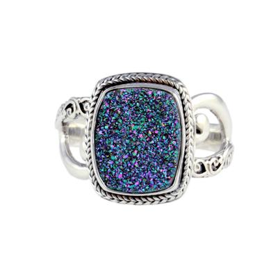 Sarda Sterling Silver & Peacock Druzy Ring