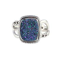 Sarda Sterling Silver & Peacock Druzy Ring