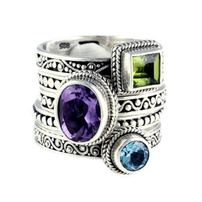 Sarda Sterling Silver & Gemstone Stacking Rings