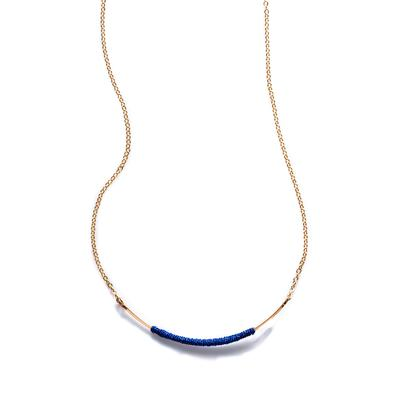 By Boe Blue Silk & Gold Filled Curved Wand Necklace
