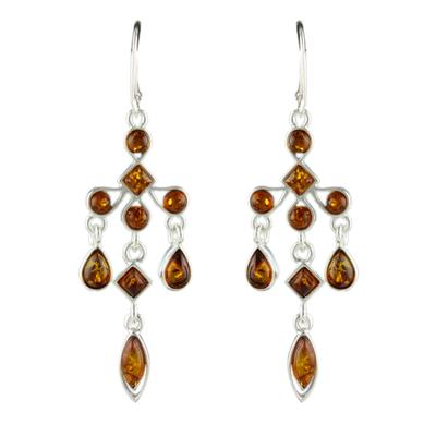 Sterling Silver & Cognac Amber Chandelier Earrings