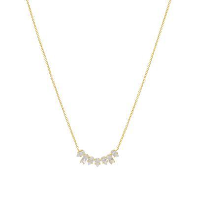 Gold, Baguette & Pear Shaped Cz Necklace