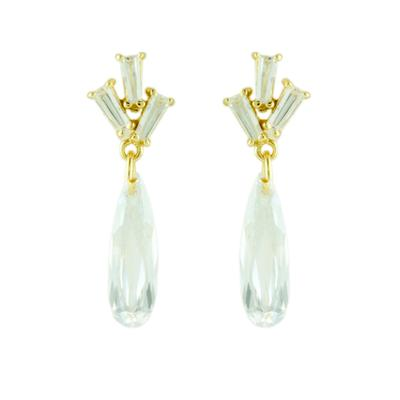 Gold, Cz Baguette Trio & Teardrop Earrings