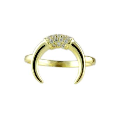 Gold & Cz Crescent Moon Ring