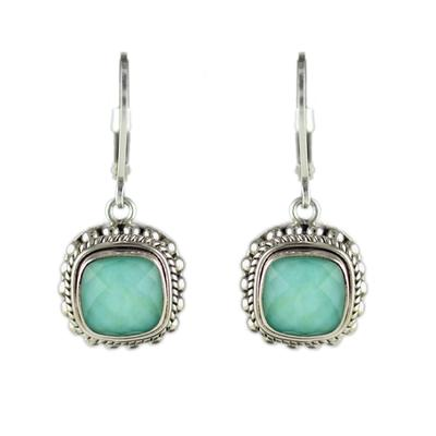 Indiri Sterling Silver, Green Quartz & Turquoise Doublet Earrings