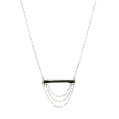 Sterling Silver Multi Chain Bar Necklace