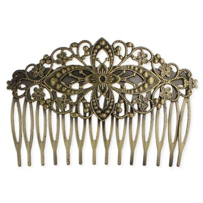 Antiqued Golden Metal Scrolled Hair Comb