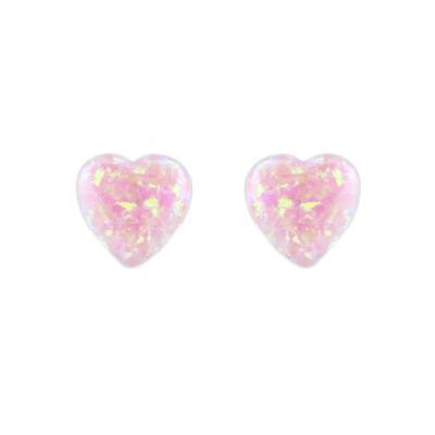 Pink Opal Heart Studs