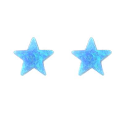 Blue Opal Star Studs