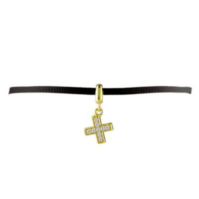 Gold & Cz Cross Ribbon Choker