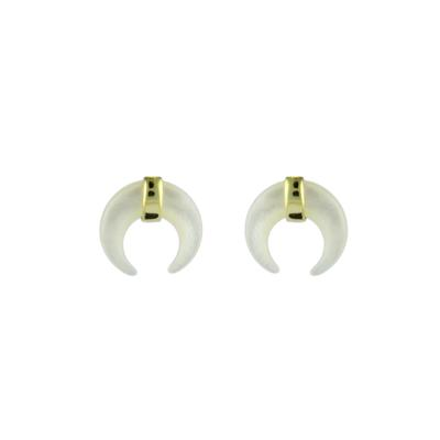 Gold Plated Sterling Silver & Mother Of Pearl Horn Studs
