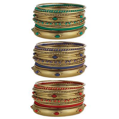 Set Of 15 Golden Beaded Bangles