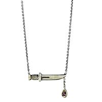 Workhorse Sterling Silver Dagger & Ruby Charm Necklace