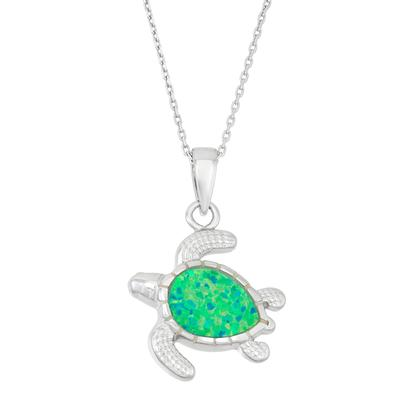 Green Opal & Sterling Silver Turtle Necklace