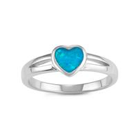 Sterling Silver & Blue Opal Heart Ring