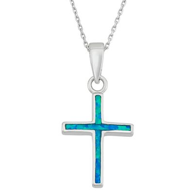 Blue Opal & Sterling Silver Cross Necklace