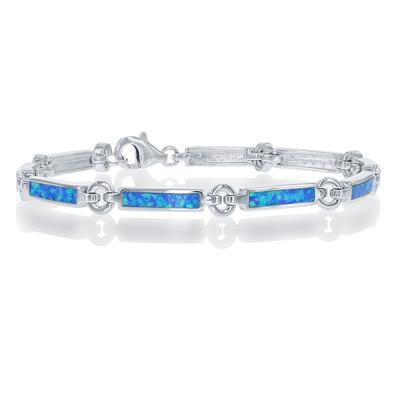 Sterling Silver & Blue Opal Rectangle Link Bracelet