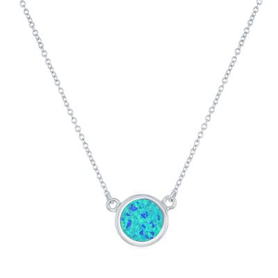 Sterling Silver & Round Blue Opal Necklace