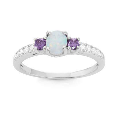 Sterling Silver Prong Set Opal, Amethyst & Cz Ring