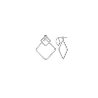 Boma Sterling Silver Diamond Double Sided Earrings