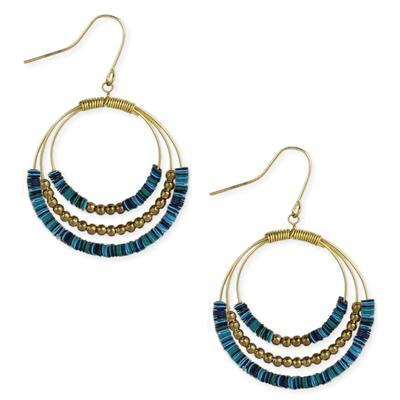 Blue Sequin Golden Metal Loop Earrings