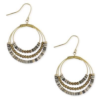 White Sequin Golden Metal Loop Earrings