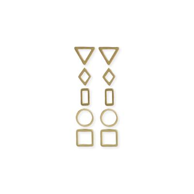 Set Of 5 Golden Metal Geometric Studs