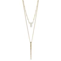 Crystal & Golden Metal Spike Layering Necklace