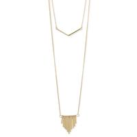 Golden Metal Chevron & Bars Layering Necklace