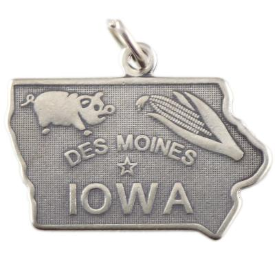 Sterling Silver Iowa Charm