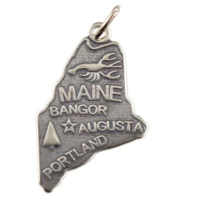Sterling Silver Maine Charm