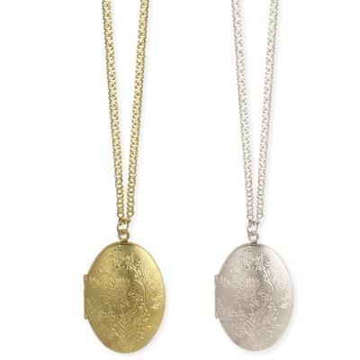 Textured Oval Locket Necklace