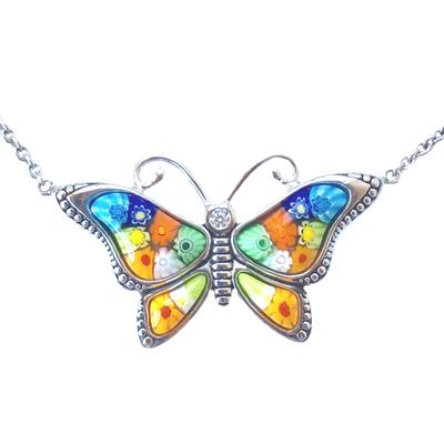 Millefiori Murano Glass Butterfly Necklace