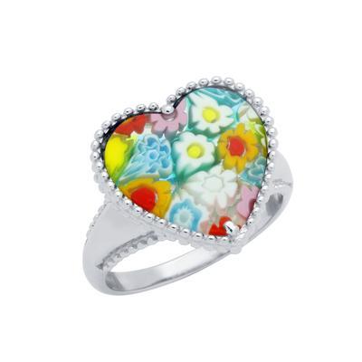 Heart Shaped Millefiori Murano Glass Ring