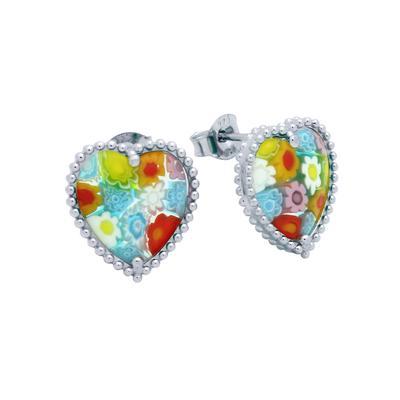 Heart Shaped Millefiori Murano Glass Studs