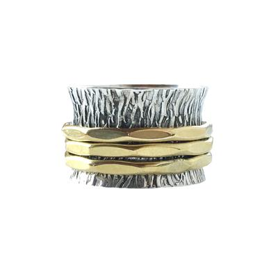 Sterling Silver & Brass Textured Spinner Ring
