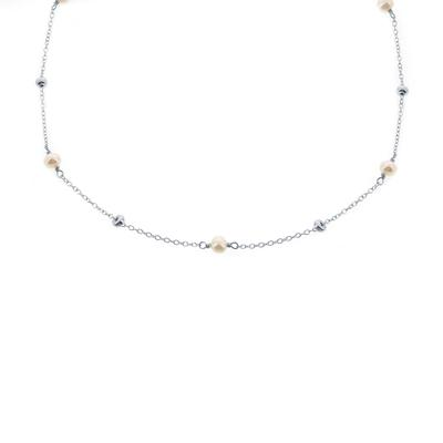Freshwater Pearl & Sterling Silver Bead Choker