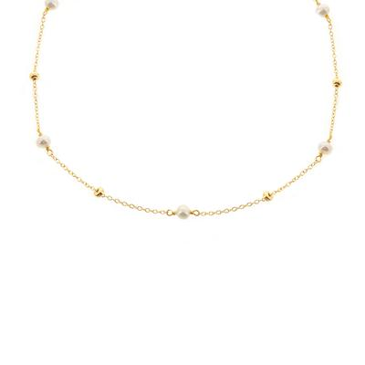 Freshwater Pearl & Gold Bead Choker