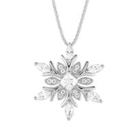 Large Sterling Silver & CZ Snowflake Necklace