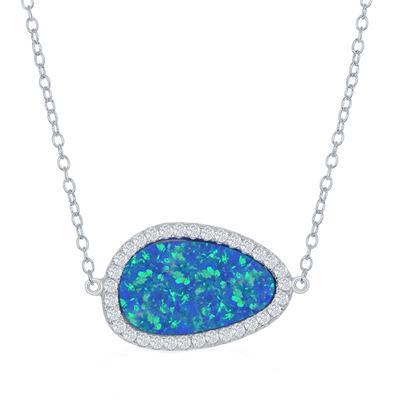 Asymmetrical Sterling Silver, Blue Opal & Cz Halo Necklace