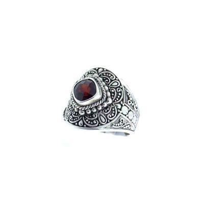 Sarda Sterling Silver & Garnet Ring
