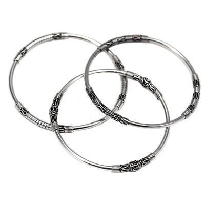 Indiri Sterling Silver Set Of Three Balinese Bangles