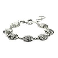 Indiri Sterling Silver Round Bali Filigree Link Bracelet