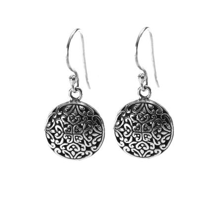 Indiri Sterling Silver Round Bali Filigree Earring