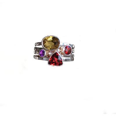 Indiri Sterling Silver & Gemstone Stacking Ring
