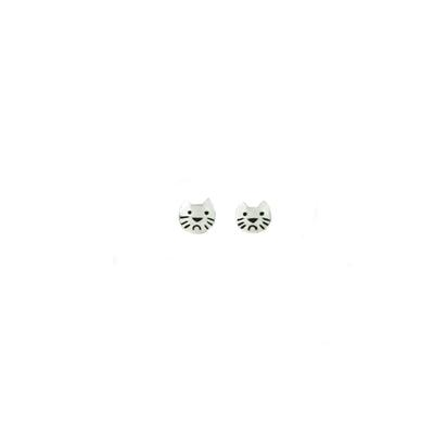 Far Fetched Sterling Silver Tiny Cat Face Studs