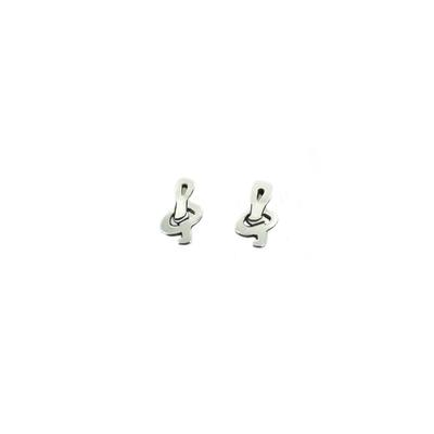 Far Fetched Sterling Silver Tiny Treble Clef Studs